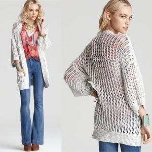 Free People Gone Fishing Open Knit Cardigan White